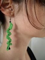 boucles d'oreilles vertes au crochet