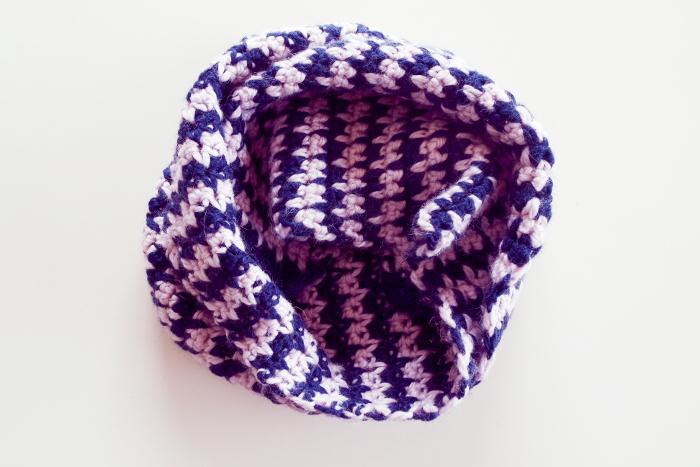écharpe crochet pied de poule